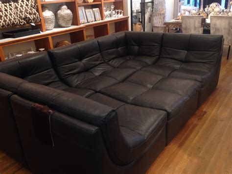 big sectional black syntetic leather upholster sofa bed field decor