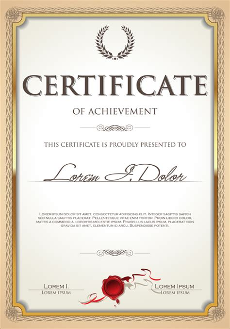 exquisite certificate frames with template vector 04