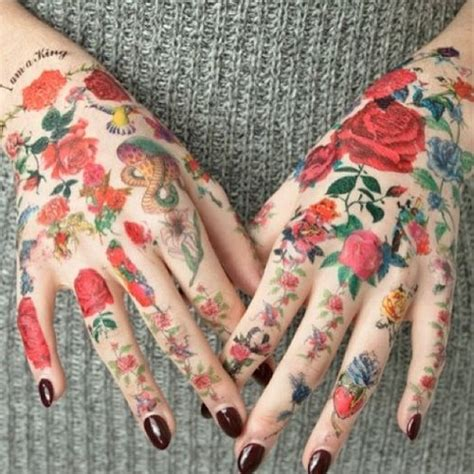 tattoo hand fake fake hand tattoos flowers fashion pinterest