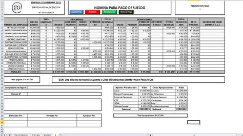 ejemplo de nomina en excel 2013 colombia liquidacion de nomina colombia nominas liquidacion de la