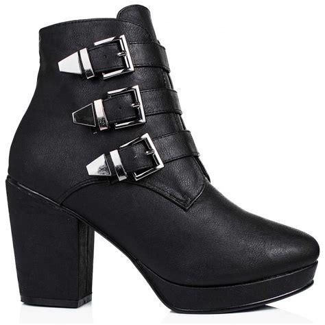 heeled biker buy baylee heeled buckle platform biker ankle boots black