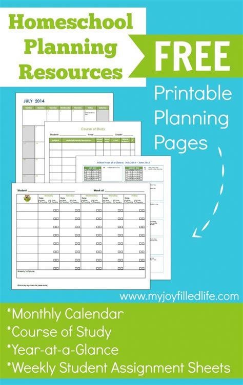 printable homeschool planner pages free homeschool planning printables