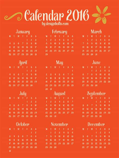 free 2016 wall planner printable free vector inspirational typography wall calendar 2016