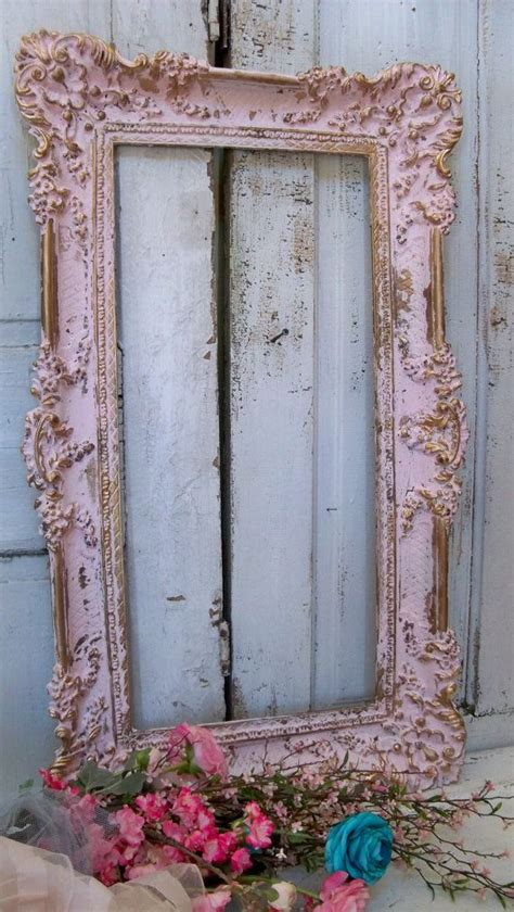 large picture frame shabby chic vintage pink gold romantic