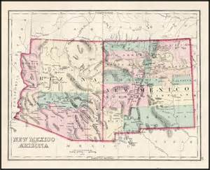 Arizona New Mexico Map by New Mexico And Arizona Barry Lawrence Ruderman Antique