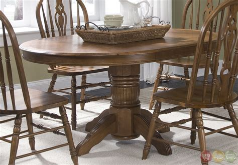 Casual Dining Table Set World Oak Finish Pedestal Table Casual Dining Set