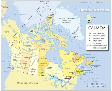 map of canada with major cities administrative map of canada nations project