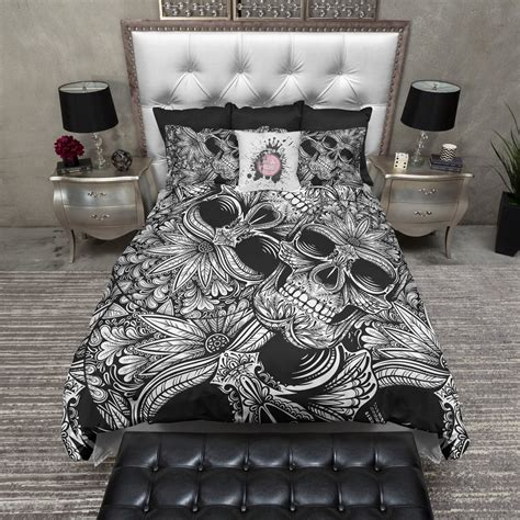 black and white tribal comforter tribal black and white sugar skull bedding ink and rags