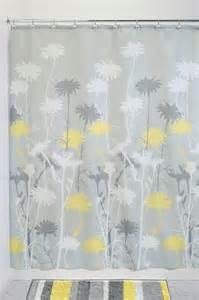 daizy graphic gray and yellow fabric shower curtain