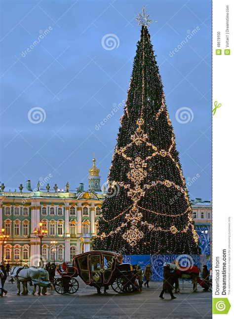 christmas tree in st petersburg russia editorial image