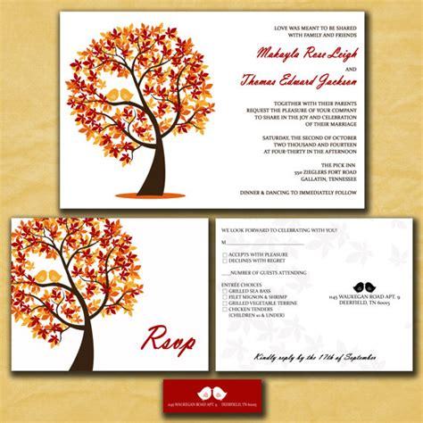 autumn themed wedding invitation wording autumn wedding invitation rectangle landscape white orange