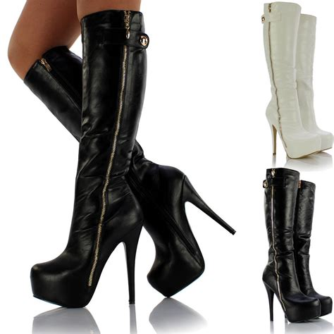 leather boots high heels womens knee high platform stiletto heel zip