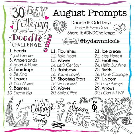 daily doodle prompts 30 day lettering doodle challenge designs 174