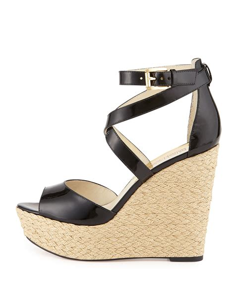 michael kors black wedge sandals lyst michael michael kors gabriella patent leather wedge