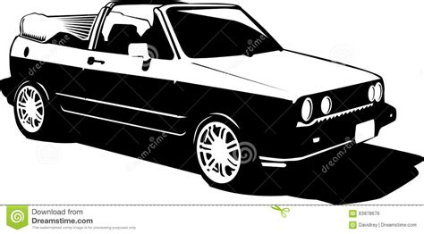 cartoon sports car black and white vintage 80s 90s cabriolet car stock illustration