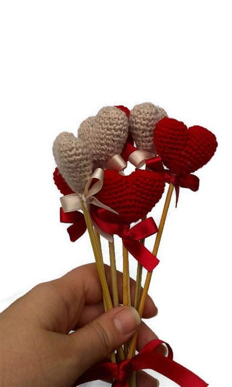 heart home decor crochet heart red heart vase decor home decor birthday