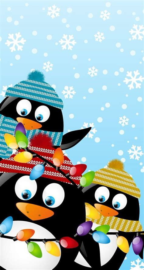 cute christmas decorated penguins penguins    christmas wallpaper holiday