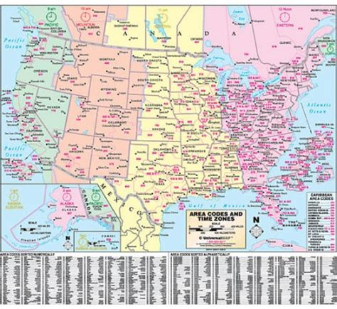 us area code and time zone map united states area code and time zone wall map america