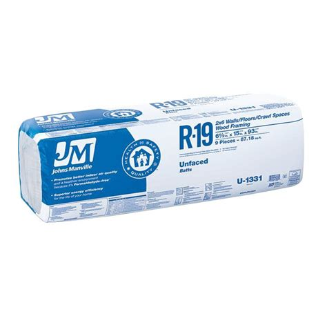 johns manville r 19 unfaced fiberglass insulation batt 15