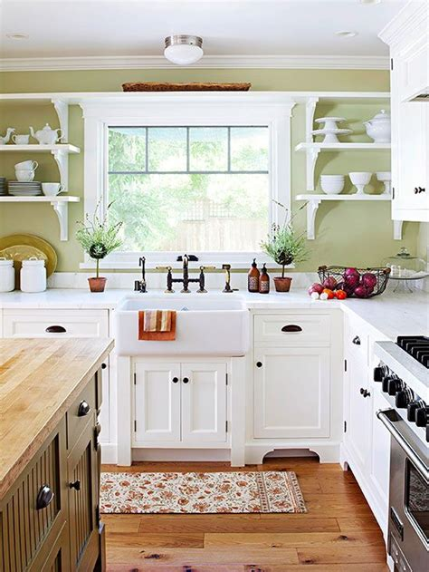 Olive Shelf After Opening by Country Kitchen Ideas Open Shelving Cabinets And Kitchen White