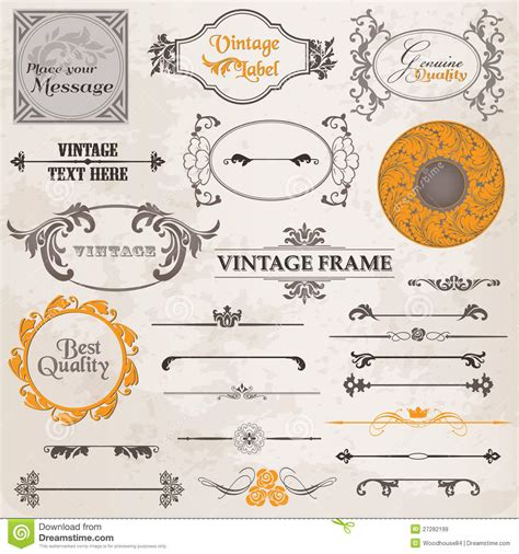 calligraphic vintage design elements vector set vector set calligraphic design elements royalty free