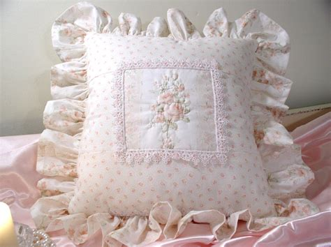 shabby cottage chic throw pillow 14in by 14 in square