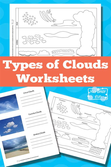 types of sheets types of clouds worksheets itsy bitsy fun