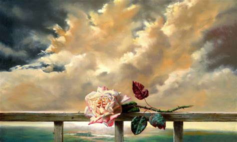 hd wallpapers painting flower freshness rose clouds