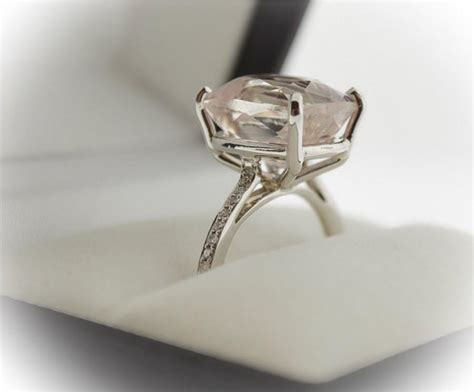 morganite engagement ring cushion cut pink 3 40ct
