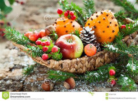 christmas fruit basket stock photo image of walnut