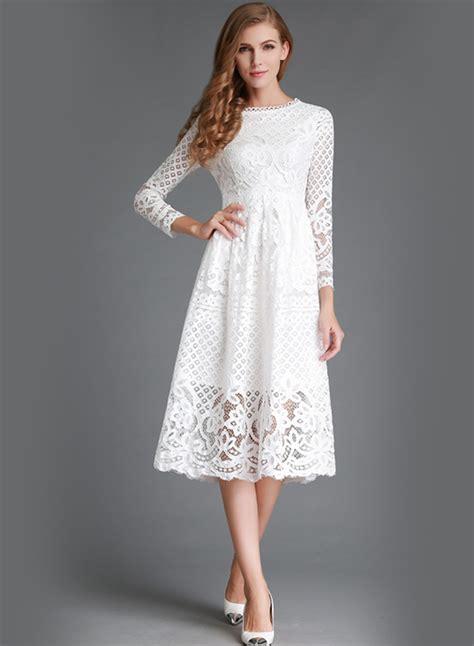 Lace Sleeve Midi Dress neck lace panel sleeve midi dress oasap