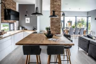Open Kitchen And Dining Room Modern L Shaped Kitchen And Dining Space In Shades Of Grey