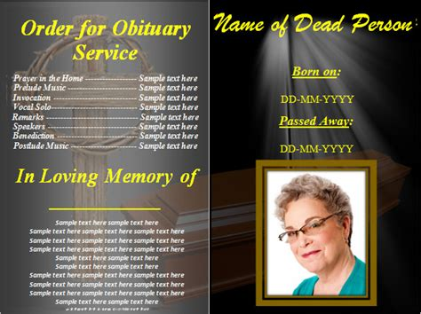 obituary templates   word excel  format