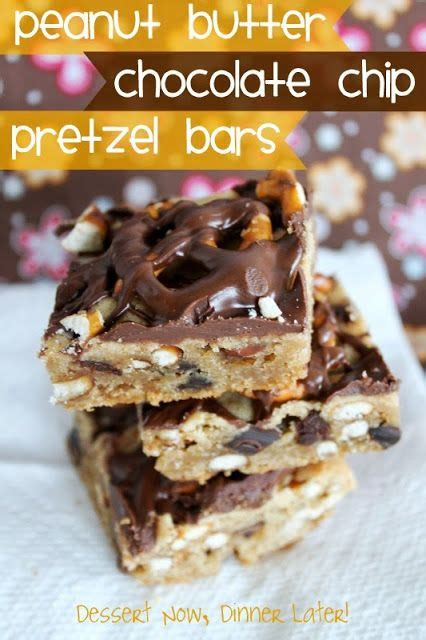 peanut butter bars with chocolate chips melted on top check out peanut butter chocolate chip pretzel bars it s