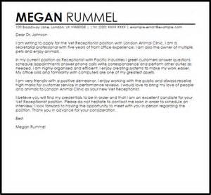 Vet Receptionist Cover Letter Sample   LiveCareer