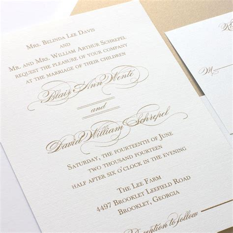Wedding Invitations Thermography Printing by Gold Wedding Invitation Script Calligraphy