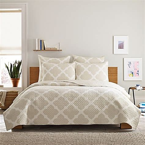 real simple bedding real simple 174 bennett quilt in taupe ivory bed bath beyond