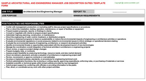 Architectural And Engineering Managers Description by Architectural And Engineering Manager Description Sle