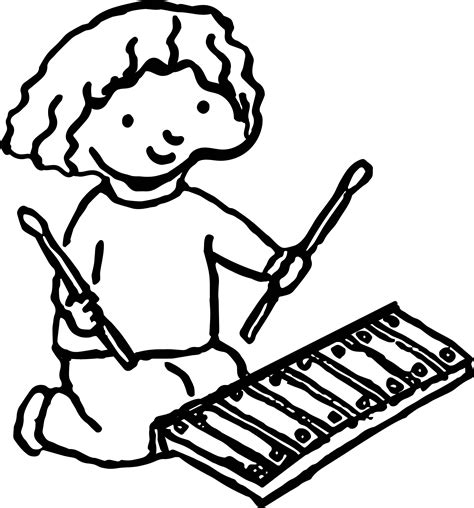 xylophone coloring pages free girl with xylophone activity coloring page wecoloringpage