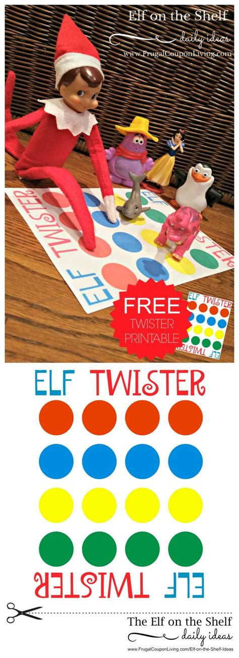 printable elf twister elf on the shelf ideas elf twister printable