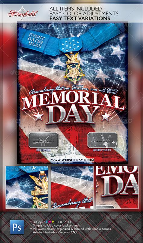 Memorial Day Patriotic Flyer Template By Getstronghold Graphicriver Free Patriotic Flyer Template