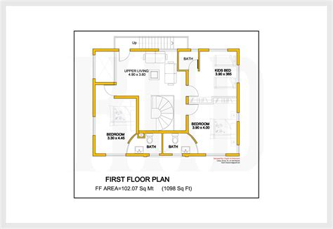 first floor plan house 2172 kerala house with 3d view and plan