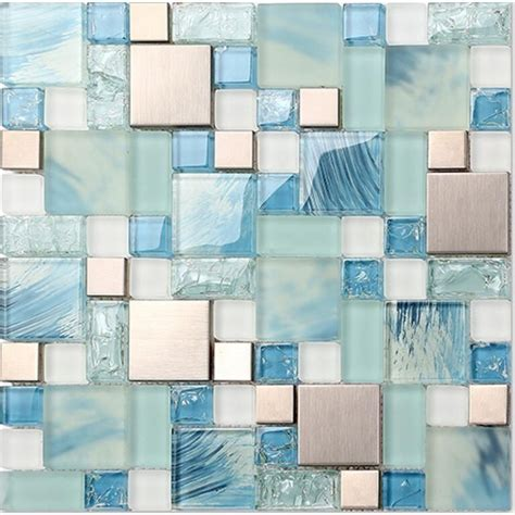 Kitchen Backsplash Stick On Tiles Crackle Glass Backsplash Tile 304 Stainless Steel Metal