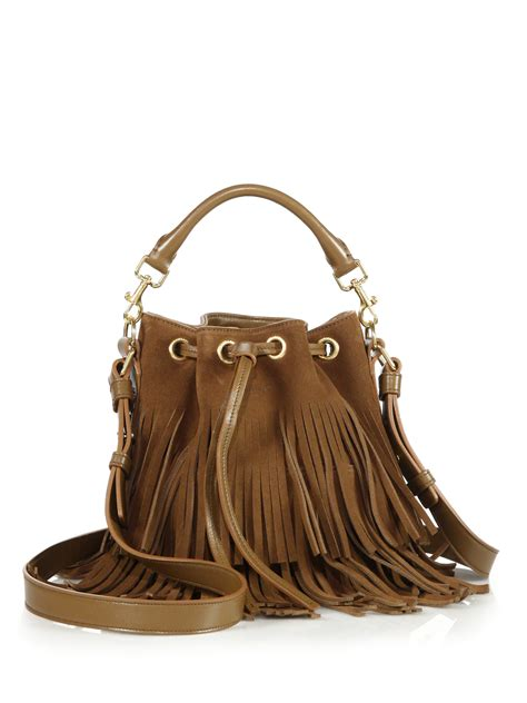 laurent small fringed suede bag in brown lyst
