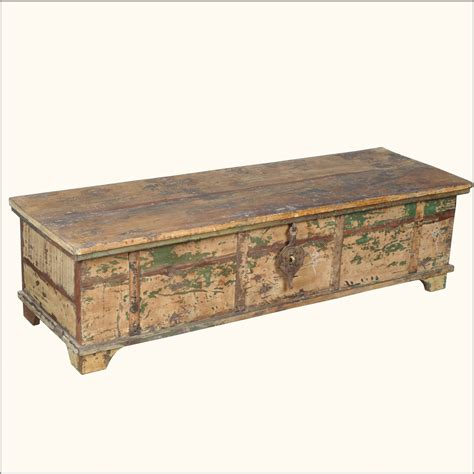 Rustic Chest Coffee Table Large Rustic Reclaimed Distressed Wood Coffee Table Chest Trunk Storage Box Ebay