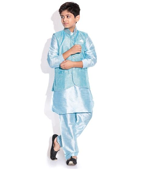 kurta colors riwaaz ferozi color kurta pajama set with jacket for kids