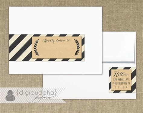 rustic printable address labels kraft striped envelope wrap labels printable address wraps