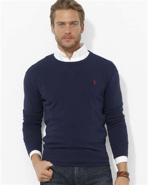 Sweater Baseball Polos Cotton Fleece ralph polo fleece crewneck pullover in blue for lyst