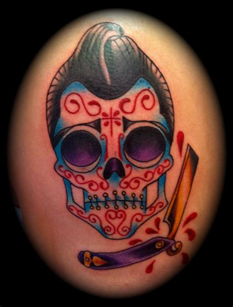 men s sugar skull tattoo traditional