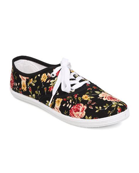 floral sneaker new refresh lemon 01 canvas floral lace up flat